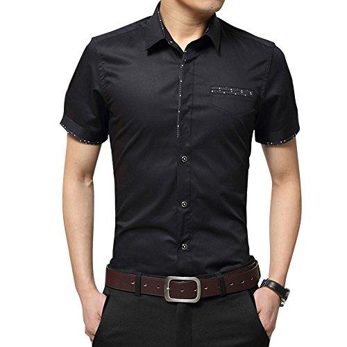 Classica camicia manica corta moda shirt slim fit casual camicia per ufficio - uomo taglia m/l/xl/xxl/3xl nero