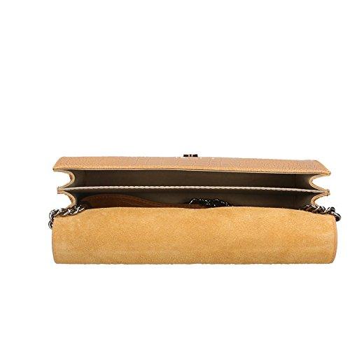 Chicca Borse Clutch Borsetta Borsa a Spalla Stampa Cocco da Donna con Tracolla in Vera Pelle Made in Italy - 30x20x10 Cm Cuoio