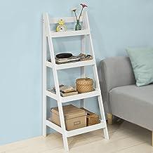 SoBuy® Moderna estantería escalonada, librería, estantería de pared, estante de 4 plegable niveles, FRG221-W,ES