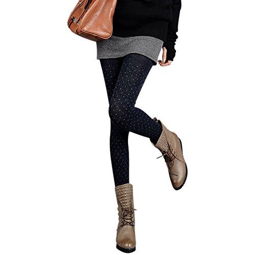 ZITA ELEMENT Damen Strumpfhose Fleece Strümpfe Punkte Pantyhose Hüfthose für Frühling Herbst Winter-Blau & Dot