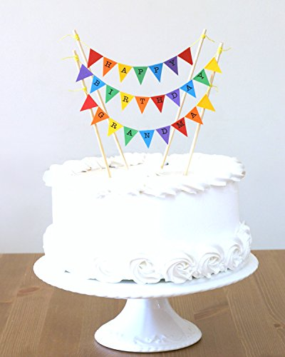 Amazing Buntings - Happy Birthday Grandma - cake topper (4 Pezzo Stampato Inserire)
