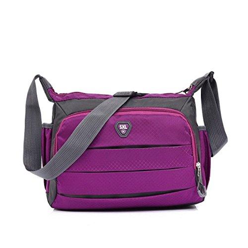 Thunfer Borsa Da Viaggio Di Spalla Di Svago Impermeabile Borsa Diagonale 9.05 * 11.41 * 4.72 In,RoseRed Purple