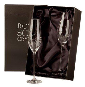Royal scot crystal diamante - calici da champagne in cristallo, in confezione regalo da 2, con cristalli swarovski incastonati
