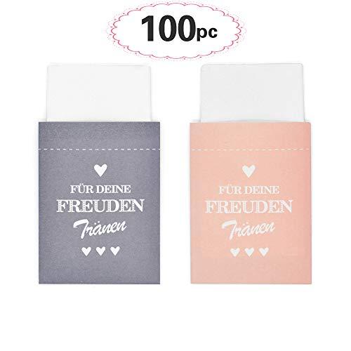 Sinoest 100 Freudentränen Taschentücher Hochzeit Mini Papiertüten Rosa & Grau Taschentuch Geschenktüten Flachbeutel für Hochzeit Taschentücher Mitgebsel Schmuck Umweltfreundlich (Rosa & Grau)