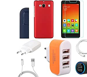 NIROSHA Tempered Glass Screen Guard Cover Case Charger USB Cable car Combo for Xiaomi Redmi 2s Combo