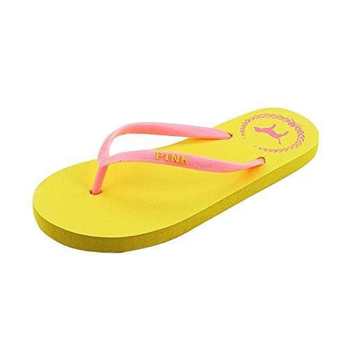 Minetom Donna colore della caramella Flat Flip Flops Slim Infradito e ciabatte da spiaggia Scarpe Interno Outdoor EUROPE Taglia Arancione