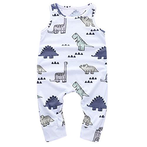 LABIUO 0-18 Monate Babykleidung, Sommer Klamotten Kinder Armellose Dinosaurier Print Overall(Weiß,0-6 Monate)