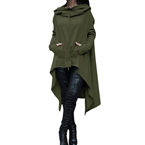 Zhhlaixing Mode Populaire Plus Women Long Hooded Sweater Irregular Hem Shirt Design Solid Color Special Tops Multicolor green