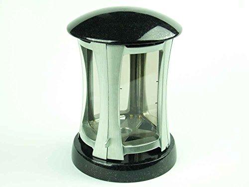 designgrab Rondo Grablampe aus Granit Schwedisch Black SS1 schwarz und gebürstetem Aluminium