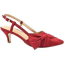 Greatonu Zapatos de Tacón Bajo con Lazo Mujer