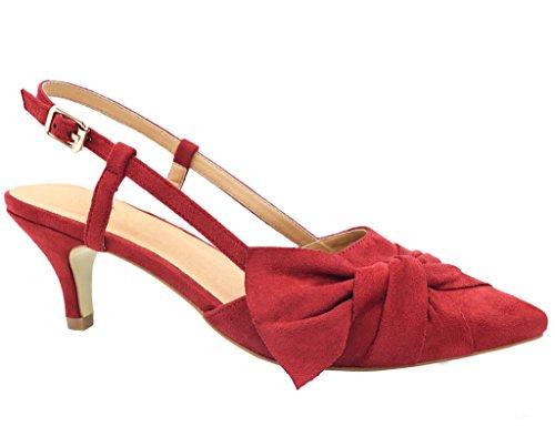 Greatonu Damen Pumps Kitten Absatz Slingback Pointed Toe Schnalle Sandalen Rot Größe 40EU (Sandalen Schnalle Detail)