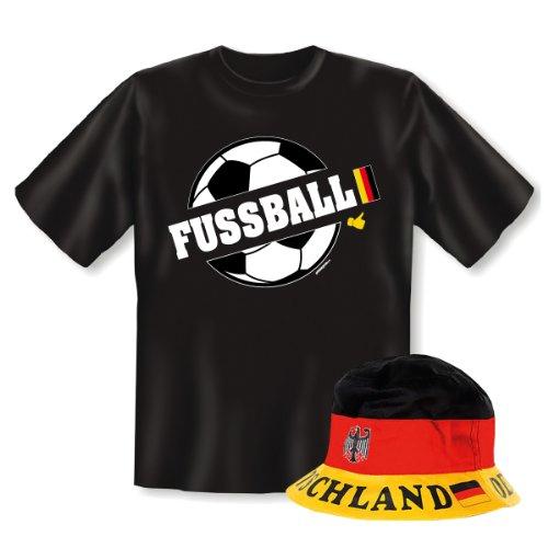 Geniales Outfit für Sport Freunde - Fussball T-Shirt + Mütze + Like