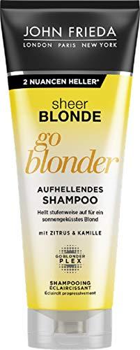 John Frieda Sheer Blonde Go Blonder Shampoo - 2er Pack (2 x 250 ml) - aufhellend - mit Citrus und Kamille - hellt stufenweise auf - auch für farbbehandeltes Haar