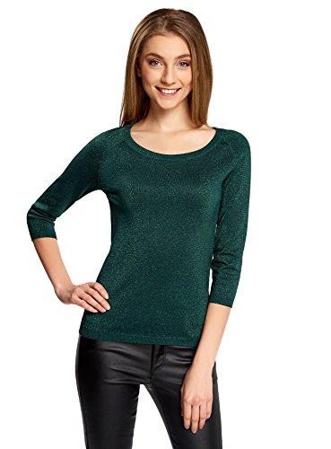 oodji Collection Damen Pullover aus Glänzendem Stoff mit 3/4-Ärmeln, Grün, DE 36 / EU 38 / S (Ärmel Pullover)