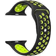 Noya Apple Watch Bracelet Nike + Série 1 série 2 série 3, Remplacement de Silicone Souple Sport Band pour iWatch Nike Sport Strap M/L (42mm, Noir/Volt)