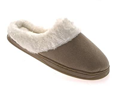 WOMENS SLIPPERS MULES SLIP ONS WARM COMFORTABLE LADIES FAUX FUR LINED LIGHT BEIGE SIZE 3