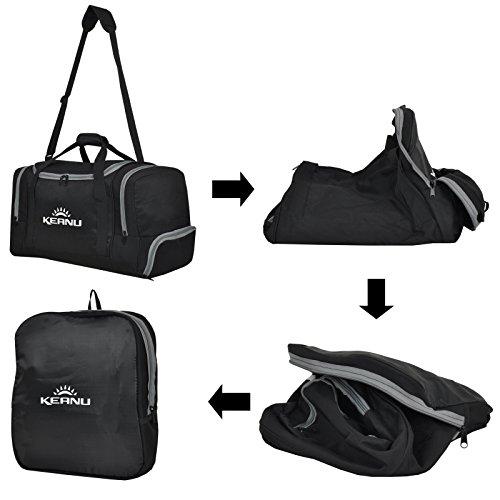 Praktische Sporttasche 50 Liter :: faltbar, Wäschefach, Wertfach :: KEANU Fitness Yoga Sauna :: grosse multifunktionale Tasche für Gym Sport Reise Wellness :: Reisetasche (Auswahl) Schwarz Grau