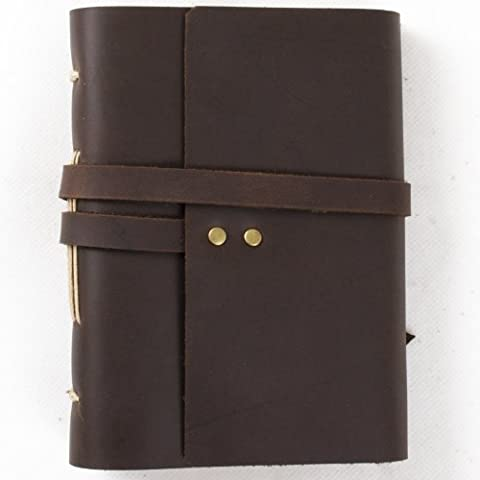Simple Classic diario de cuero diario con correa hecho a mano en blanco, con caja de regalo de papel para manualidades, color Dark brown & A6(10.5x15cm) Blank craft paper