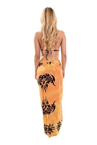 Ca 48 Modelle Sarong Pareo Wickelrock Strandtuch Handtuch Lunghi Dhoti ca. 170cm x 110cm mit Toller Stickerei Handarbeit viele Modelle Tribal Orange