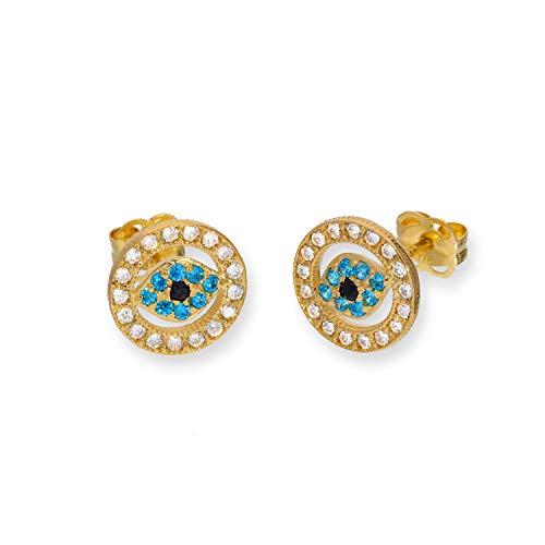 Pendientes de Oro de 9 Quilates en Forma de Ojo Turco con Circonitas | Amuletos