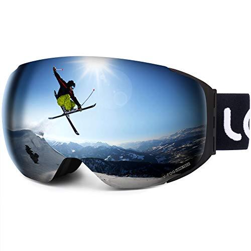 LEMEGO Skibrille, 3X Anti-Fog Snowboardbrille 100% UV-Schutz Revo Schneebrille Magnetische Wechselobjektive Verspiegelt Dual- Linse helmkompatible Ski Goggles Weitwinkel für Frauen Herren Jugend