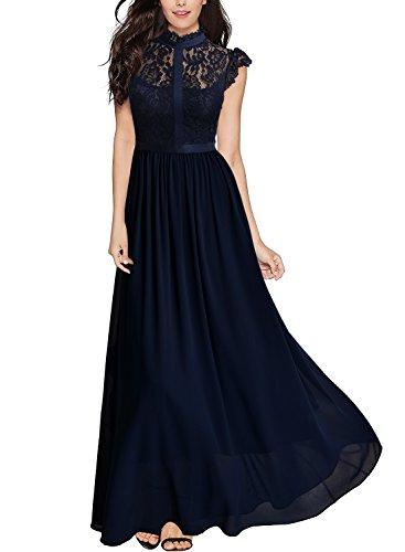Miusol Damen Elegant Spitzen Abendkleid Brautjungfer Cocktailkleid Chiffon Faltenrock Langes Kleid Dunkelblau Gr.S