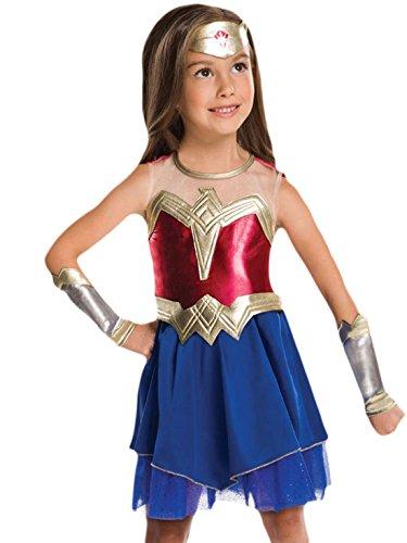 Mädchen Captain America Kostüme (Halloweenia - Mädchen Karneval Kostüm Kleid Wonder Woman, Mehrfarbig, Größe 110-116, 5-6)