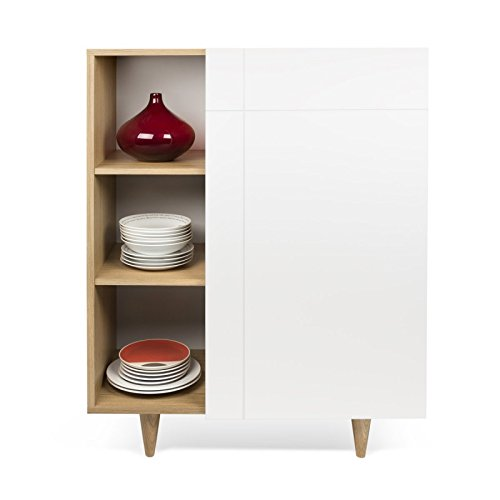 Paris Prix - Temahome - Vaisselier Placard Design Cruz 120cm Blanc Mat & Chêne