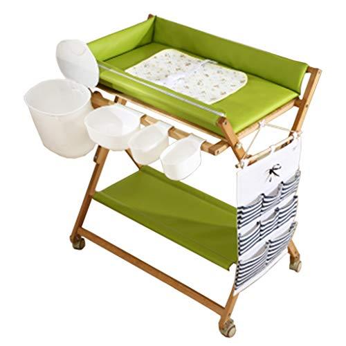 Klappbarer Wickeltisch für kleine Räume, Tragbare Kindergarten Säuglingswindel Massagestation Kommode für Haushaltsreisen, Grün, 0-2 Jahre altes Neugeborenes