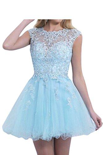 Promgirl House Damen Hellblau Spitze A-Linie Heimkehr Kleider Ballkleid Partykleid mini/Kurz 2015 Hellblau