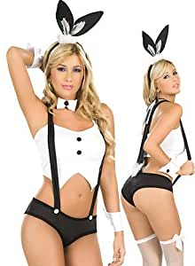 Lingerie Sexy Femme : Costume Lapin Blanc LC8550 Blanc Taille S