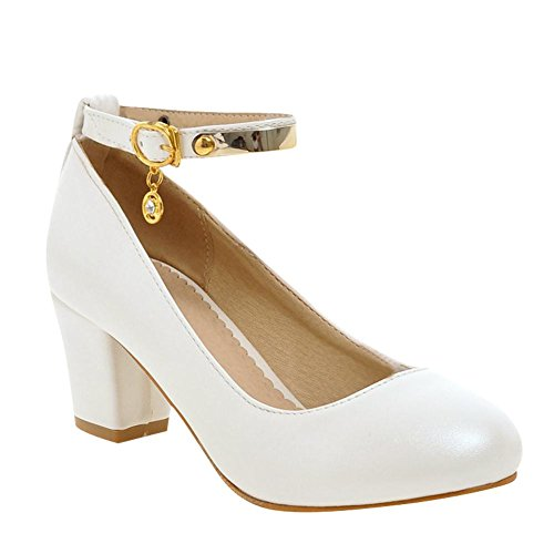 Mee Shoes Damen chunky heels Ankle Strap runde Pumps Weiß
