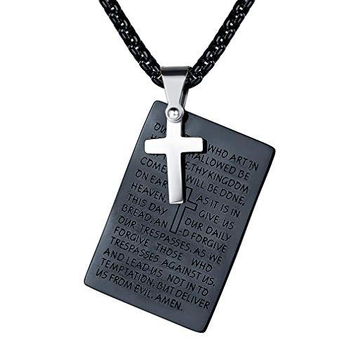 FaithHeart Dog Tag Kette Army Kette Heilige Halskette mit Gravur mit Vaterunser Hundemarke Anhänger Männer Schwarz