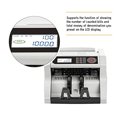 Decdeal Desktop Automatic/Manual Cash Banknote Bill Money Multi-Currency Counter Counting Machine LCD Display Built-in UV MG MT IR DD Detection with External LED Display for USD/JPY/CAD/Euro/GBP/AUD