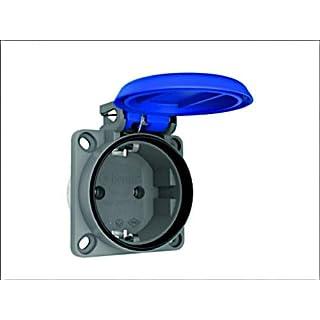 AW-TOOLS Anschluss-Steckdose Schalttafelsteckdose Anschlussgerätesteckdose blau 16A 250V 3-polig IP54 gerade Schuko