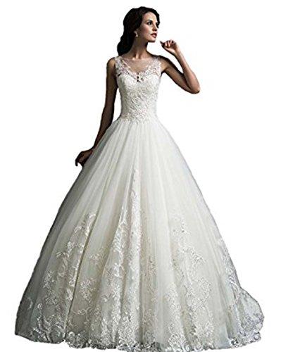 Damen Scoop Traeger Vintage Spitzen Tuell Hochzeitskleid Brautkleid ...