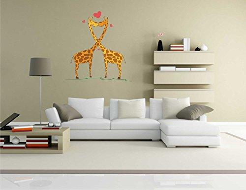 Indigos KAR-Wall-lovely034-70 Wandtattoo lovely034 - Süße Herzen - Giraffe kissing - Wandaufkleber 70 x 70 cm (Giraffen-knochen)