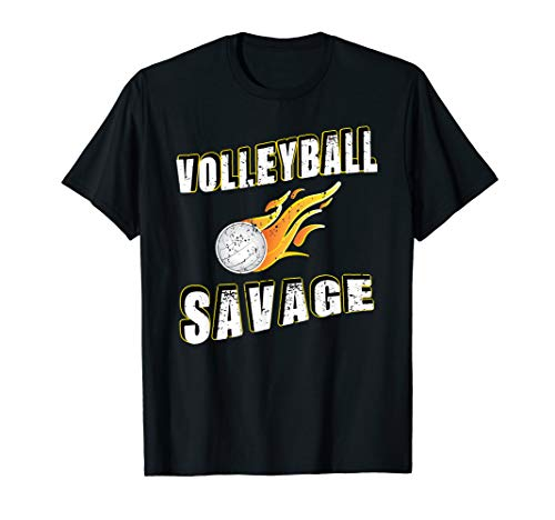 Volleyball Savage on the Court Distressed Volleyball T-Shirt -