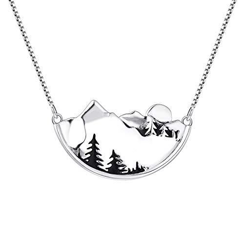YL Damen Halskette Bergkette 925 Sterling Silber Berg Baum Sonne Anhänger Halskette für Frauen Mädchen