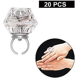 20Pcs Bagues Lumineuses - Bagues de Soirées Clignotantes - LED Clignotant Light Up Favors- Bagues de Fiançailles en Forme de Diamant pour les Anniversaires, Bachelorette et Toutes les Occasions