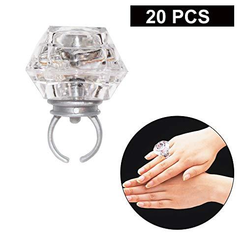 20Pcs Blinkende Ringe - 3 Farbe Leuchtende Blinkende Ringe für Party - 3 blinkender Led Ringe für Geburtstagsfeiern Schmuck, Bachelorette, Halloween Geschenke für Kinder und Gelegenheiten
