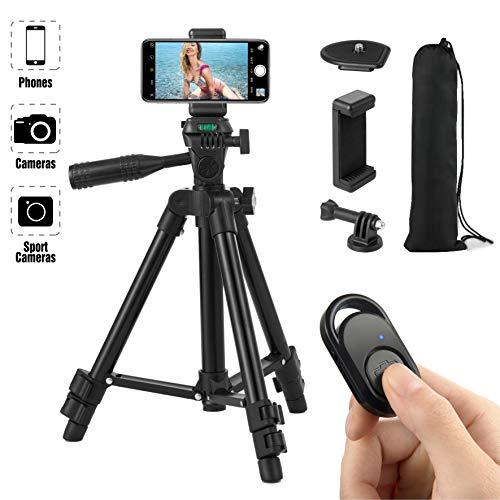 Hitchy Trepied Smartphone, Trepied Iphone 26 Inch 65cm Aluminium Léger, Trepied Appareil Photo pour Smartphone/Camera avec Télécommande Bluetooth, Porte-téléphone (Noir)