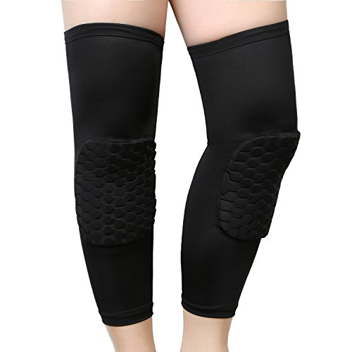 Finlon Hex Pad Knee Pads Compression Extended Leg Sleeves of Sports Protective Strap