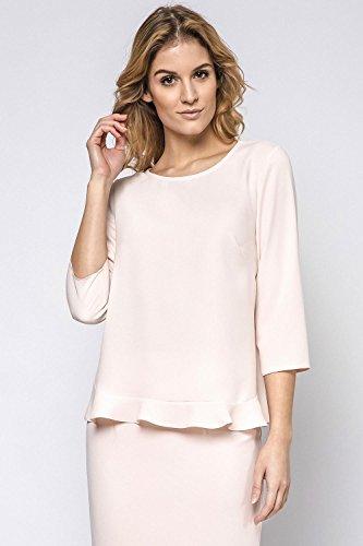 Ennywear 230143 Blouse Feminine Top Qualité Manches 3/4 Col Rond- Fabriqué En UE Rose