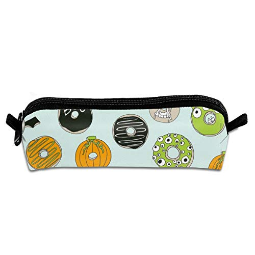 Halloween Donut Fall Autumn Food Cute Spooky Scary Pencil Pen Case Pouch Bag with Zipper for Girls Kids School Student Stationery Office Supplies 21 X 5.5 X 5 cm (Cute Food For Kids Halloween)