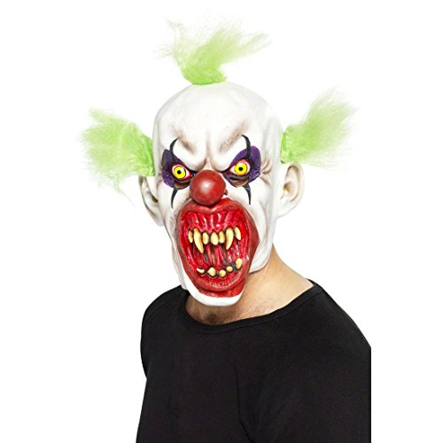 Böser Horror Clown Maske ES Clownsmaske Horrormaske Clownmaske Halloweenmaske Halloween Psycho Kostüm (Böser Masken Clown)