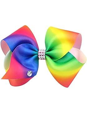 Fixuk grande fiocco per capelli arcobaleno mamma Girls Accessories Kids Romany fermaglio per capelli