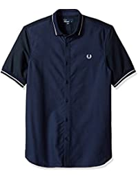 Fred Perry Men's Short Sleeve Casual Shirt with Polo Collar