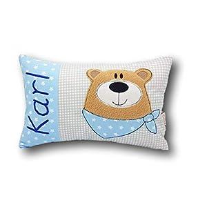 Kleines Kissen mit Wunschnamen♥Bär♥Geburt♥Taufe♥individuell