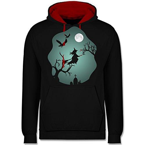 Shirtracer Halloween - Hexe Mond Grusel Grün - 4XL - Schwarz/Rot - JH003 - Kontrast ()